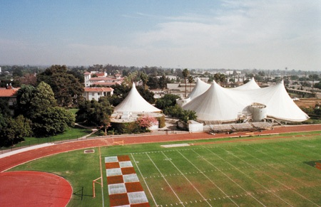 Peaks made of teflon fabric cover the Supertents at the University of La Verne. Center of student life since 1974, the prototype buildings hold the Communications Department, the Movement and Sports Science Department, the Associated Student Federation office, Multi-Cultural Affairs Office and Dailey Theatre, center-piece of the Theatre Arts Department. / photo by Matt Wright