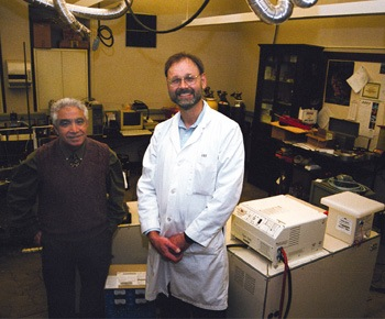 Continuing revolutionary developments in fuel cell technology come from the research of Dr. Iraj Parchamazad, chemistry department chair, and his team of ULV scientists that includes, (right) Dr. Jay Jones, professor of biology and biochemistry.  / photo by Liz Lucsko