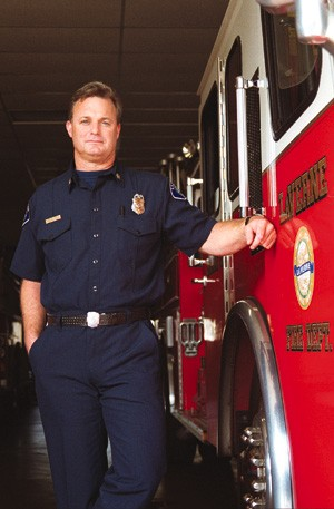 Captain in the La Verne Fire Department since 1990, Jeff Peterson, a fireman since 1985, is based at the La Verne Third Street station, which, he says, responds to an average of four calls a day. / photo by Lauren Wooding