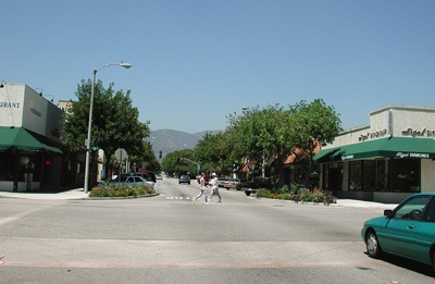The fruit from the pomp of the early 20th century gives La Verne its current look in this photograph taken from the same location, the intersection of D and Third streets looking north. The name Lordsburg changed to La Verne Sept. 27, 1917. / photo by Isela Peña