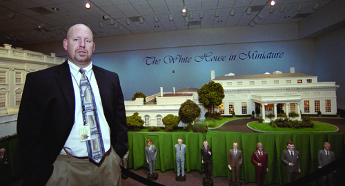 The 43 United States presidents surround the White House in Miniature as Greg Cumming stands next to Nixon, the 37th. Cumming, a ULV alumnus, worked for the Ronald Reagan library in Simi Valley for 14 years until he gained the opportunity to come to Yorba Linda to serve as director of archives at the Richard Nixon Library. / photo by German Jimenez
