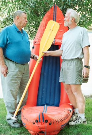 """His days of leading alumni rafting trips have ended for living La Verne legend Roland """"Ort"""" Ortmayer, but the tradition stays afloat through Rugere Departe, Ort's long-time lead guide. / photo by Jen Newman"""