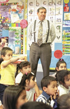 Standing tall in the lives of his students as principal of Candelario J. Mendoza School in Pomona, Richard Rodriguez presides over an entirely different curriculum than the one he experienced as a student at Lincoln Elementary School. / photo by Michael P. Bailey