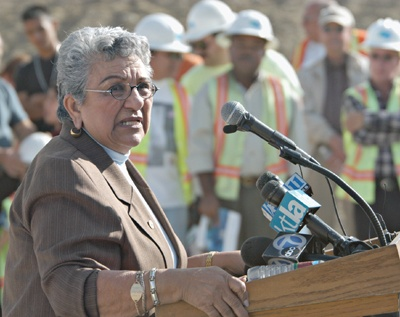 Center of Caltrans attention, state Senator Nell Soto, 32nd district, speaks at the 210 Freeway opening ceremony. / photo by Liz Lucsko