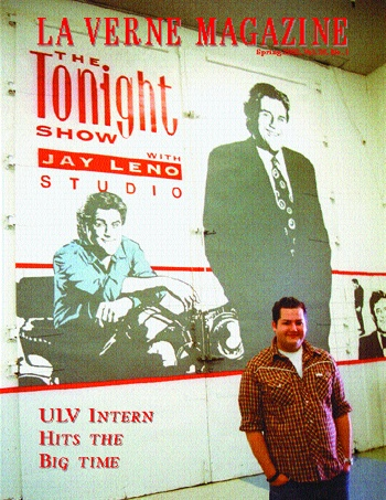 Fate, talent and his larger than life personality managed to launch Ross Mathews, senior University of La Verne communications major, into the national talk show limelight. Mathews stands in front of Jay Leno's shadow in the hallway right outside the Tonight Show stage. / photo by Amy Babin
