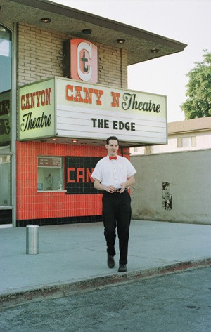 Right on the San Dimas-La Verne border, the single screen Canyon Theater has been showing movies since 1966. John Hoar prepares for another evening of selling tickets. / photo by Laura Ambriz