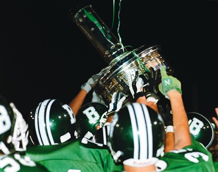 For the fifth straight year, the Bonita Bearcats raised the Smudgepot over their heads. Since the rivalry began in 1972, Bonita has had the right to claim it as their own 12 times. / photo by Jason Cooper