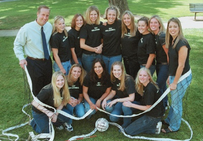 ULV's national champions took tremendous leaps to reach their goal: (Front row) Adrian Pearson, Sarah Anderson, Adriana Contreras, Kelsey Kennedy, Ryan Winn. (Back row) Coach Don Flora, Amy Smith, Lisa Mila, Adele Jones, Stacey Lupu, Amy Kratochvil, Meridith Zembal, Jennifer Stout and Assistant Coach Randi Smart. The entire team will be returning next season with the exception of seniors Winn and Contreras. / photo by Juan Garcia