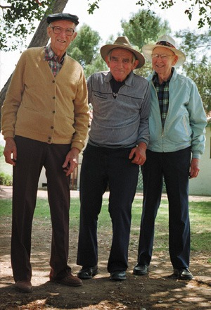 Seventy years later, Al Berg, Steve Gally and Les Roland continue to keep Jerry Voorhis' memory alive through their alumni contributions to Claremont Graduate University. / photo by Laura Ambriz