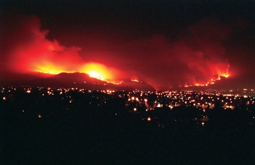 Painfully beautiful, the Williams fire swept through San Dimas Canyon Sept. 23, 2002, destroying more than 38,000 acres before being stopped just short of Mt. Baldy Village. / photo by Liz Lucsko