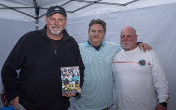 Richard Dunn reunites with longtime friends and former baseball teammates Ken Haringa (left) and Rich Gray (right) at his book signing event. / photo by Maxwell Sierra